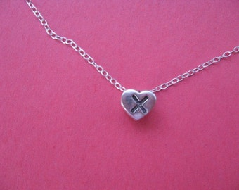 Initial X Charm Necklace, Simple Heart Necklace, Letter X Heart Charm, Silver Heart, Personalized Jewelry Necklace Initial X Heart Charm