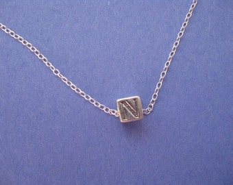 Initial N Necklace, Mens Personalized Necklace, Letter N Necklace, Silver N Charm, Simple Pendant Jewelry, Sterling Silver Cube Charm