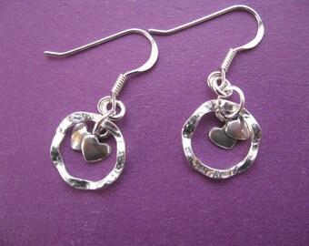 Hoop Earrings, Silver Heart Charm Earrings, Eternity Circle Earrings, Heart Earrings, Sterling silver Dangle Hoops