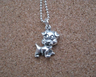 Dog Pendant, Sterling Silver Necklace with Dog Charm, Puppy Necklace, Silver Pendant, Childrens Jewelry Little Girls Gift