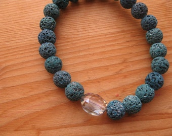 Yoga Bracelet, Bangle Bracelet, Lava Beads Mala Bracelet, Green Lava Beads Bangle, EVeryday Bracelet,  Stretch Mala Bracelet Energy