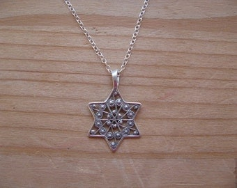 Dainty Star of David Necklace, Sterling Silver Antique Filigree Star of David Charm Pendant Necklace, Jewish Star Necklace