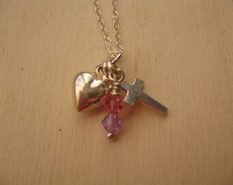 Sterling Silver Charm necklace with Heart and Cross and Pink Crystals, Cross and Heart charm Necklace, Pink Crystal Charm