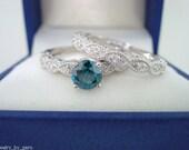 Blue & White Diamond Engagement Ring Wedding Band Sets 14K White Gold Antique Style Engraved 0.67 Carat Handmade
