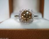 Champagne Brown Diamond Engagement Ring 1.10 Carat 14K White Gold HandMade Halo
