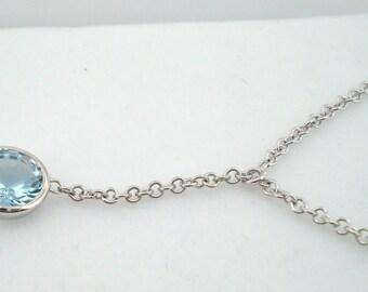 Platinum 1.10 Carat Aquamarine Solitaire Pendant Necklace Bezel Set Adjustable Unique