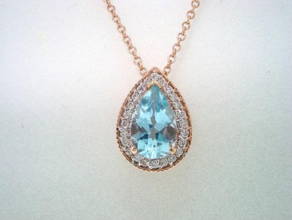 14K Rose Gold Pear Shape Aquamarine & Diamonds Pendant Necklace 0.84ct  HandMade