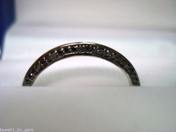 Platinum Fancy Black Diamond Wedding Band 0.30 Carat Handmade Micro Pave Stackable