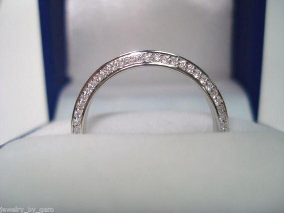 Wedding & Anniversary Diamond Band 14K White Gold 0.27ct Micro Pave Set handmade Stackable