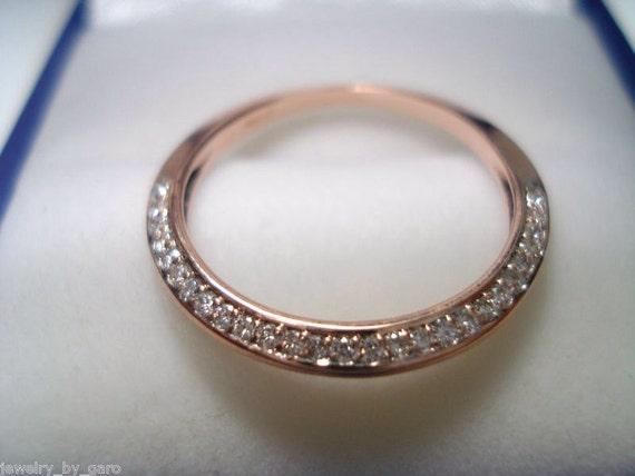14K Rose Gold  Wedding & Anniversary Diamond Stackable Band 0.27ct Micro Pave Set Handmade