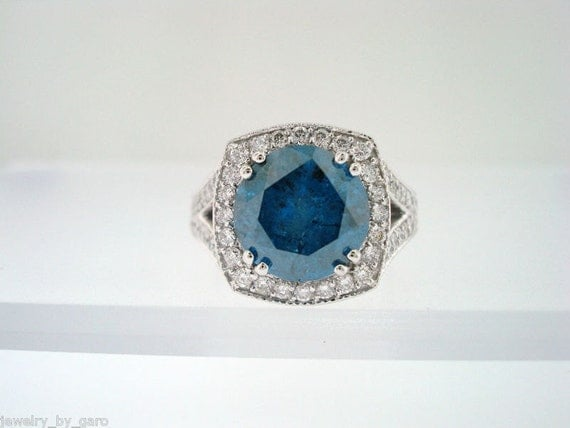 Selling Under Cost Price  4.01 Carat  Certified  Blue & White Diamonds Engagement  Ring 14K White Gold HandMade Unique Ring Pave Set
