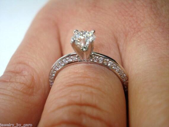 Platinum Diamond Engagement Ring, Knife Edge Wedding Ring 0.72 Carat Handmade Micro Pave Bridal Certified