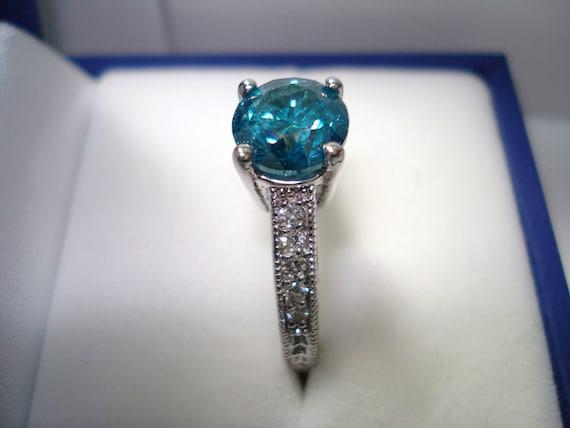 Blue Diamond Engagement Ring 1 15 Carat 14K White by JewelryByGaro