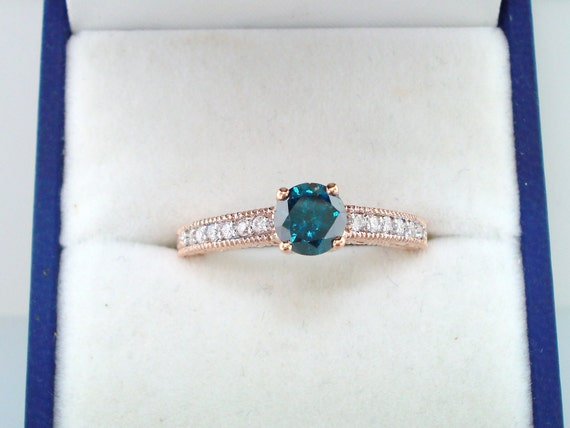 Fancy Blue & White Diamond Engagement Ring 0.74 Carat 14K Rose Gold Antique Style Engraved Certified Handmade