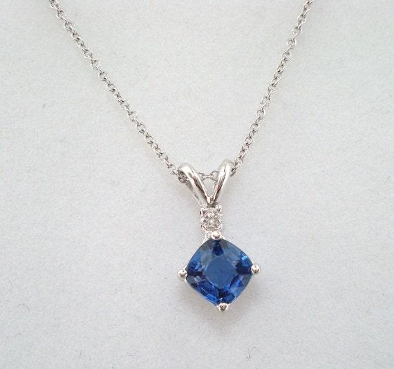 14K White Gold Cushion Cut Ceylon Blue Sapphire & Diamond Solitaire Pendant Necklace 0.84 Carat HandMade