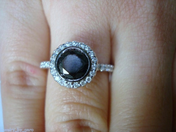 1.44 Carat Fancy Black & White Diamond Halo Engagement Ring 14K White Gold Bezel and Micro Pave Set Handmade