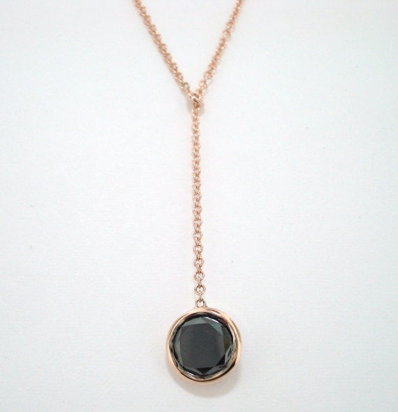 14K Rose Gold Fancy Black Diamond By The Yard Solitaire  Pendant Necklace  0.75 Carat handmade