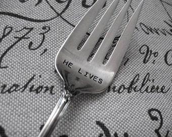 Vintage Silverware Large HE LIVES Serving Fork Easter