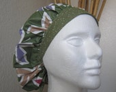 Olive - 2Tone Bouffant Tie-back Surgical Scrub Hat