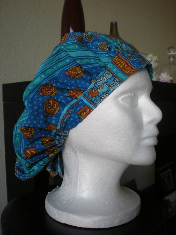 Owl on the Line - Bouffant Tie-back Surgical Scrub Hat
