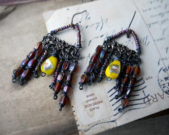 SALE - Chandelier Earrings - Lampwork Glass - Yellow, Brown, Lavender - Vintage Metal - Fancy Floral - Rustic Assemblage Earrings
