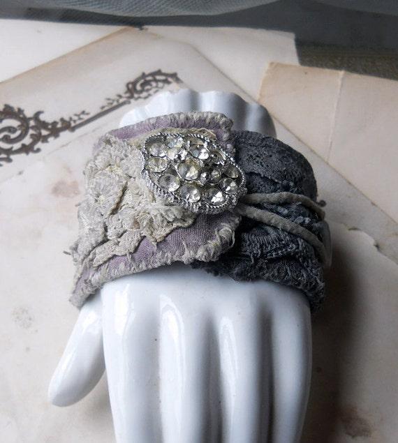 RESERVED - SALE - Wrist Curtain - Cuff Bracelet - Rhinestones, Vintage Beads, Dyed Antique Curtain Material - Rustic Fiber Bracelet Cuff