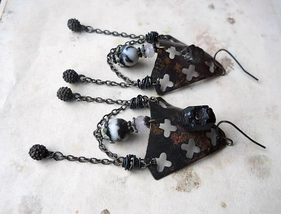 SALE - 50%OFF - Chandelier Earrings - Beaded Earrings - Metal Shields, Black Tourmaline, Glass, Chain Festoon - Rustic Fancy Armor Earrings