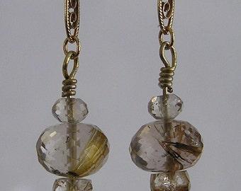 Golden Rutilated Quartz and Gold Filled Filigree Earrings