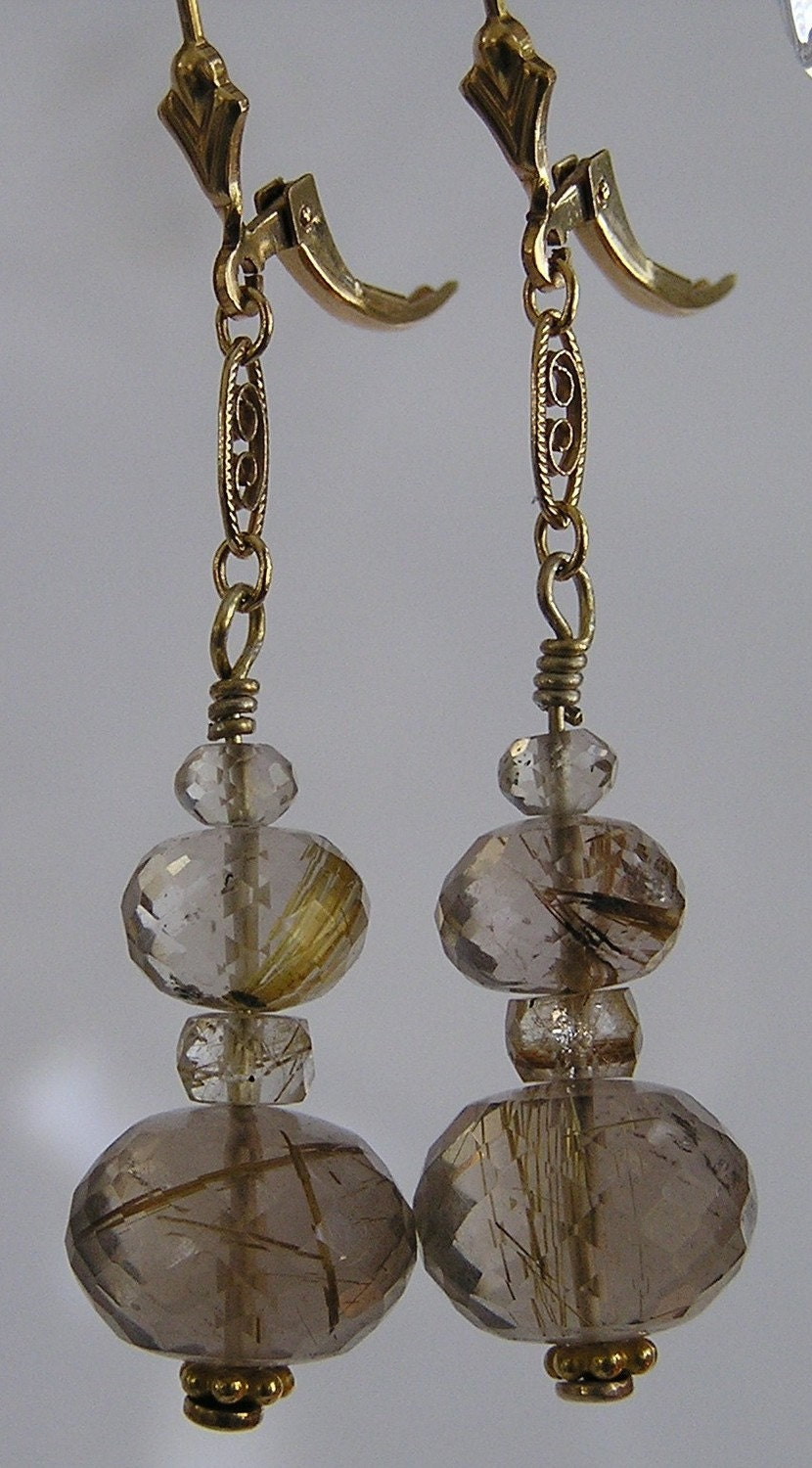 Golden rutilated quartz and gold filled filigree earrings for Golden rutilated quartz jewelry