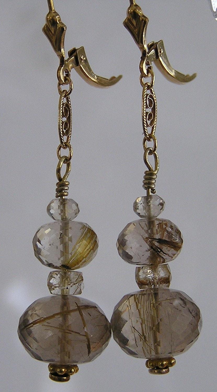 Golden Rutilated Quartz Jewelry Of Golden Rutilated Quartz And Gold Filled Filigree Earrings