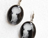 Jellyfish jewelry- French ear hook earrings antique silver toned art photo of a jellyfish comes gift wrapped for her