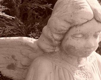 Sepia Angel Statue Photograph 8 x 10