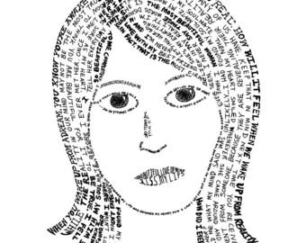 Girl Portrait Handwritten Love Note Art Print 8 x 10