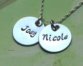 Two Charm Sterling Silver Hand Stamped Necklace
