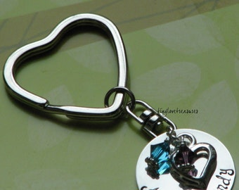 With love, Hand Stamped sterling silver heart shaped key chain