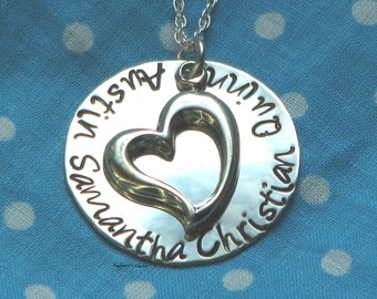 Close to Your Heart - Hand stamped sterling silver necklace