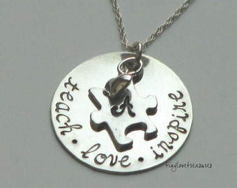 Autism Awareness Puzzle Piece hand stamped necklace