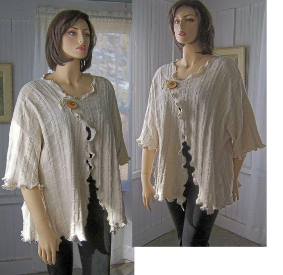 Reconstructed Lagenlook Sweater Tunic Cardigan Asymmetric Cotton Knit With Big Wood Button One Size