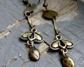 VICTORIAN ARROW - long antique brass metalwork, shield & layered deco bali style dangle EARRINGS