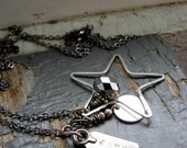 GRAPHITE METAL - layered silver star, stamped tag, faceted gunmetal, metalwork charm & chain NECKLACE