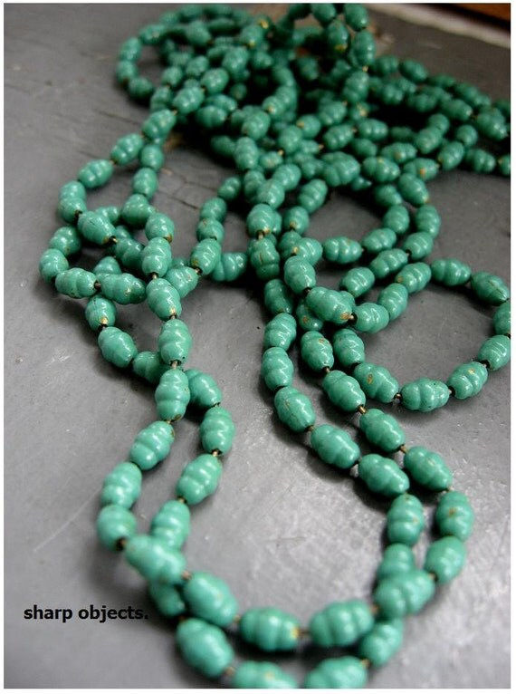 ENVY - simple long green antique continuous brass chain link, distressed metalwork wrap NECKLACE