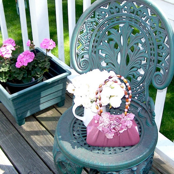 French Vintage Style Upcycled Mauve Satin Floral Handbag