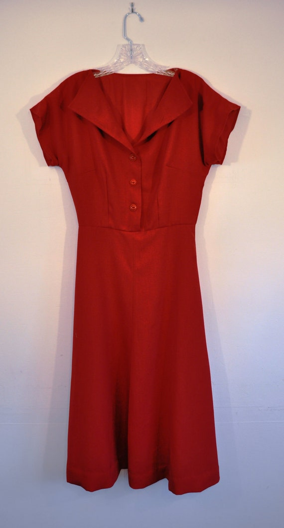 Red cap sleeve dress rayon and linen blend 1940s Retro style size 2 - 4