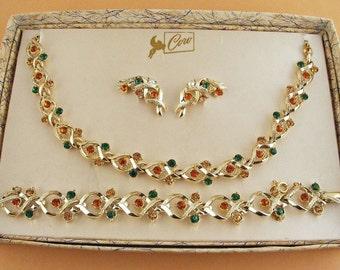 Vintage Coro Pegasus Set Rhinestone Gold Parure Estate Necklace Bracelet Earrings