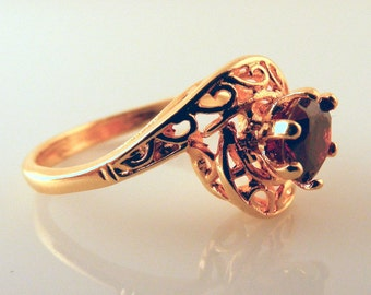 Vintage Cocktail Ring Red Stone Gold Tone Filigree Costume Jewelry