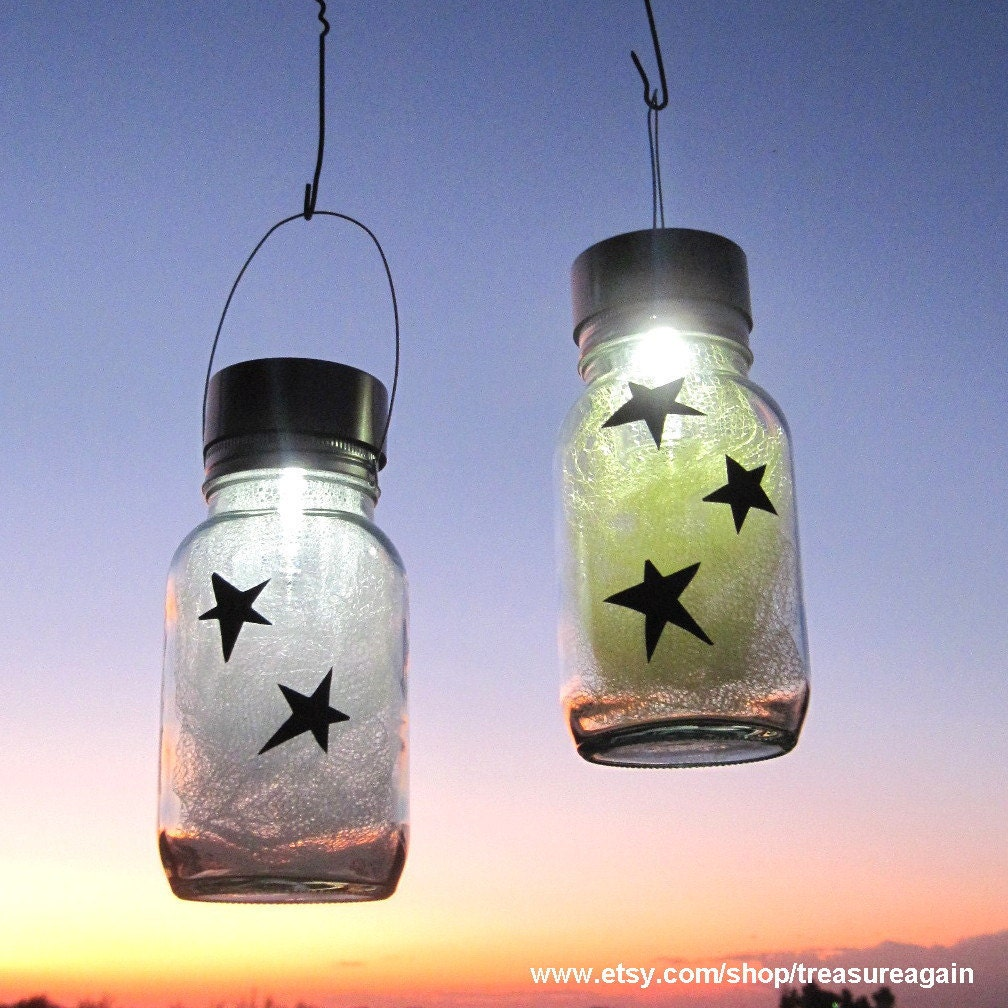 star light jars outdoor home decor holiday mason by treasureagain - Home Decor Lights