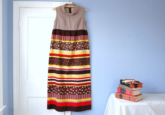 Geometric Maxi Dress Vintage 70s Floral Stripe High Waist Maternity Dress Toni Lynn Small XS