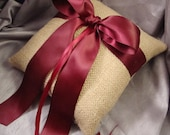 Natural Burlap Rustic Outdoor Ring Bearer Pillow - Choose Your Own Ribbon Color