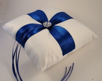 Fifth Avenue Ring Bearer Pillow - Choose Your Colors, Shown in White and Cobalt Blue
