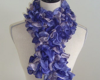Hand Knit Ruffled Scarf - Purple, Lavender